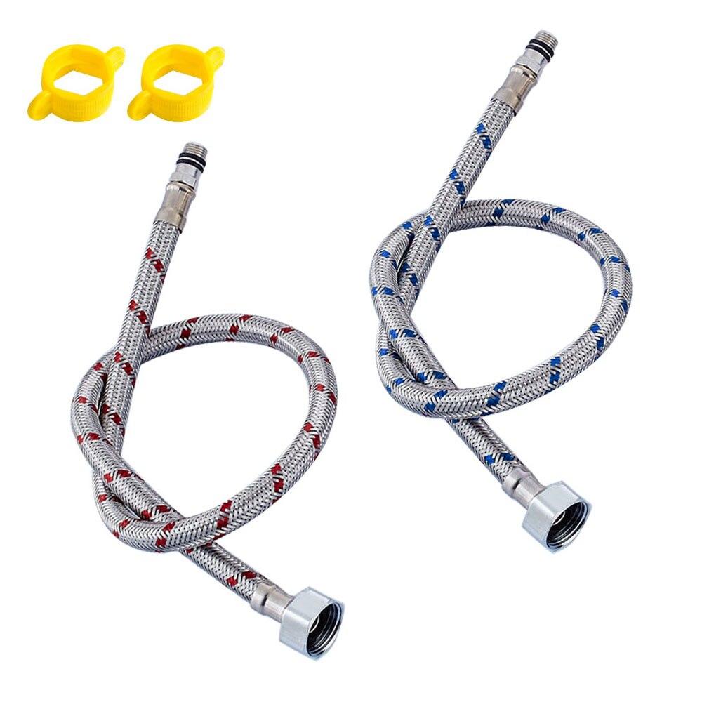G1/2 G3/8 G9/16 50cm 1 Paar Edelstahl Flexible Sanitär Rohre Kalten Heißer mixer Wasserhahn Wasser Versorgung Rohr Schläuche Badezimmer Teil