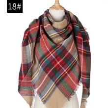Дизайнерский вязаный женский шарф на весну и зиму, клетчатые теплые кашемировые шарфы, шали, роскошная брендовая бандана, Пашмина, женская накидка