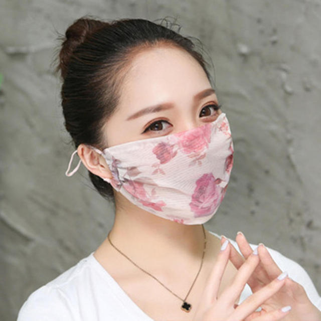 Hot New Korean Version Of Lady Chiffon Floral Female Summer Ultra-thin Sunscreen And Breathable UV Protection Mask Thin Masks 3