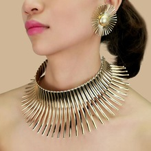 MANILAI African Jewelry Sets For Women Gold Color Indian Statement Necklaces Set With Earrings Jewelry Metal Torques Punk Choker