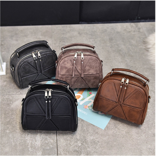 Vintage Women Geometric Stitching Crossbody Bag PU Leather Fashion Ladies Messenger Handbag