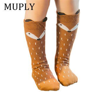 Newborn Toddler Cotton Baby Socks Animal Printed Knee High Anti Slip Cartoon Fox Leg Warmers For newborns infant Warm Long Socks unisex baby girls long socks infant toddler knee high socks for baby boy girl white leg warmer cotton warm clothing accessories