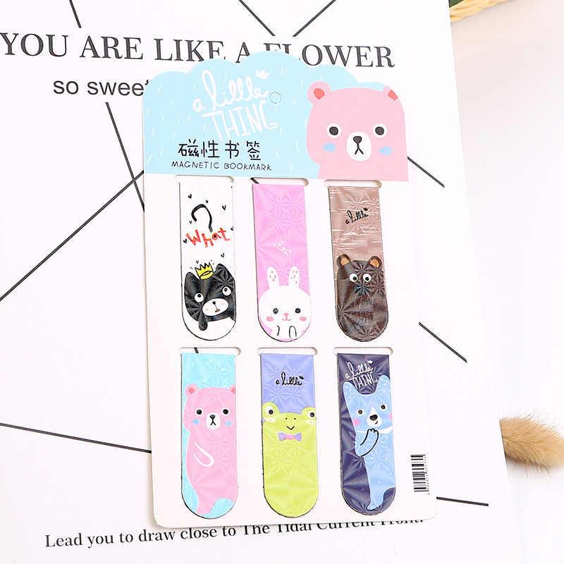 6 יח'\סט Kawaii חתול דוב קקטוס מגנטי ספרי סימניות סמן של דף ספר מכתבים משרד אספקת נייר קליפ