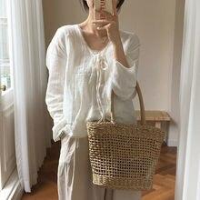 Ротанговая соломенная тканая сумка женская плетеная корзина Tote модная летняя пляжная большая сумочка
