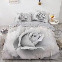3D Bedding Set Custom Single Double King Size 3PCS Duvet Cover Set Blanket/Quilt Pillow Case Gray Flowers Bed Set Microfiber