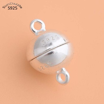 Real Pure Solid 925 Sterling Silver Magnetic Clasps Jewelry Making Round Ball Gold Buckle Clasp Necklace Bracelet Findings