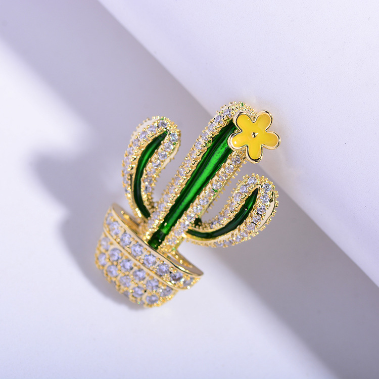 Bad Guy Zircon Brooches for Women's Brooch Pin Fashion Pins Accessories for Clothes Decoration Brooch Pins Metal Cactus Broche-2
