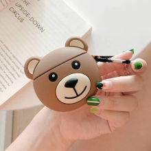 Korea teddy bear protective silicone case for apple airpods wireless brown bears bluetooth earphone charging bag air pod cover