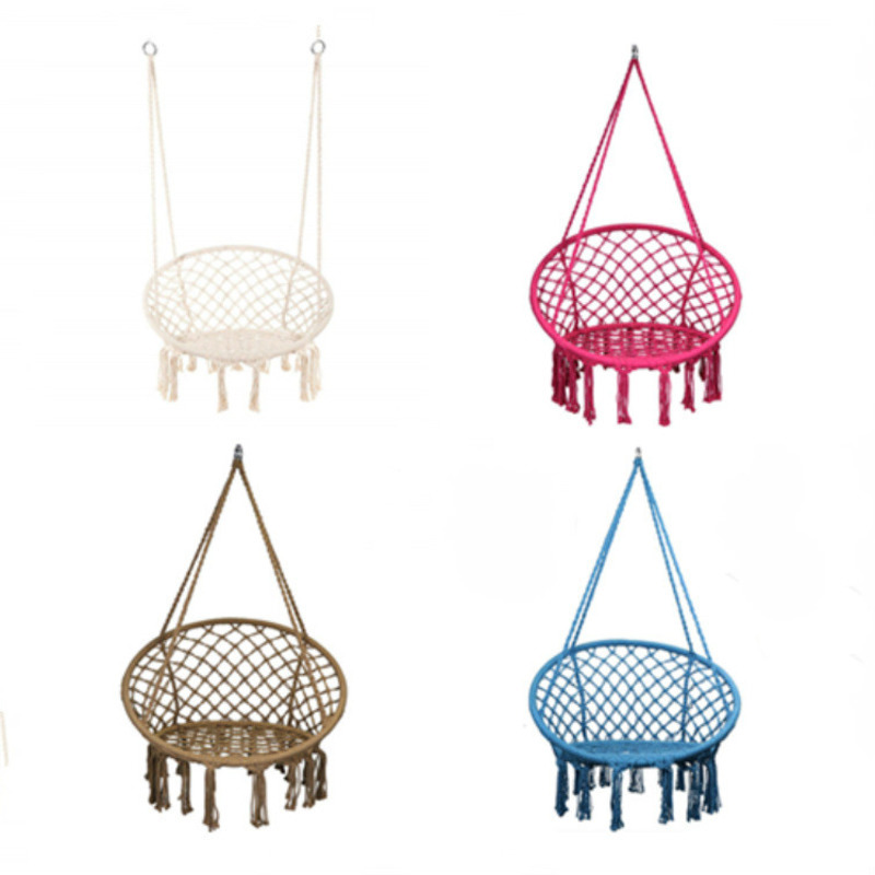 Nordic Style Hammock Chair Macrame Swing Indoor Dormitory Bedroom Hanging Chair For Child Adult Single Safety Hammock
