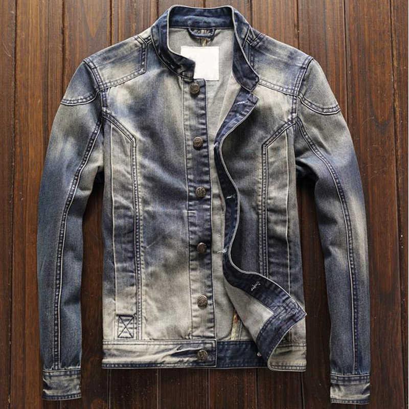 Yeni yüksek sokak sonbahar avrupa ve amerikan tarzı erkek kot ceketler paltolar gevşek Fit motosiklet ceket ve mont A206