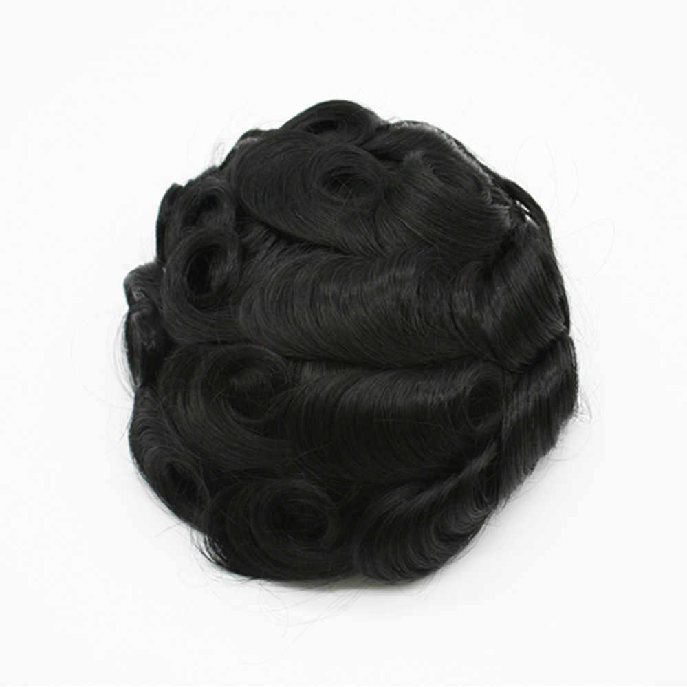 Prótesis de cabello humano peluquín de piel fina para hombre