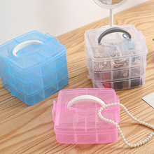 Jewelry Box Plastic Portable Removable Storage Three-layer Transparent Cosmetic