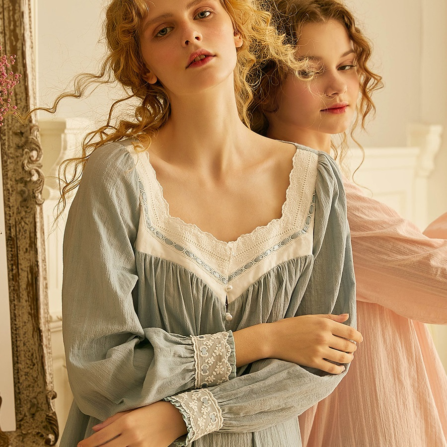 High Grade Soft Cotton Women's Lace Sleepwear Spring Autumn Princess Comfortable Long Nightgowns Home Wear