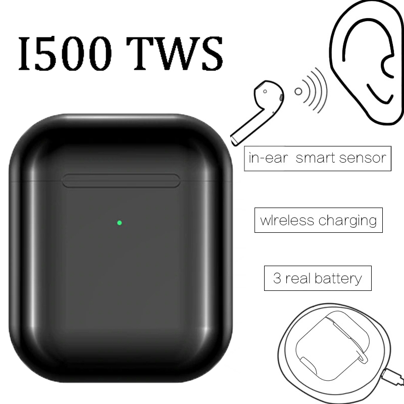 i500 <font><b>Tws</b></font> Air 1:1 Pro Wireless Bluetooth Earphones PK 1536U H1 W1 Chip 8D Stereo Earbuds Box for Blk Matte Black Headphones Elair image