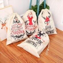 Büyük boy noel çanta Santa çuval Merry Christmas noel partisi mutlu yeni yıl tatil DIY süslemeleri Favor hediyeler çanta