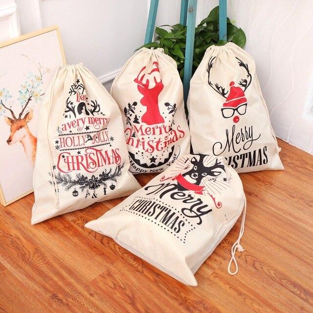 Grande tamanho sacos de natal santa sacos feliz natal natal festa feliz ano novo feriado diy decorações favor presentes sacos