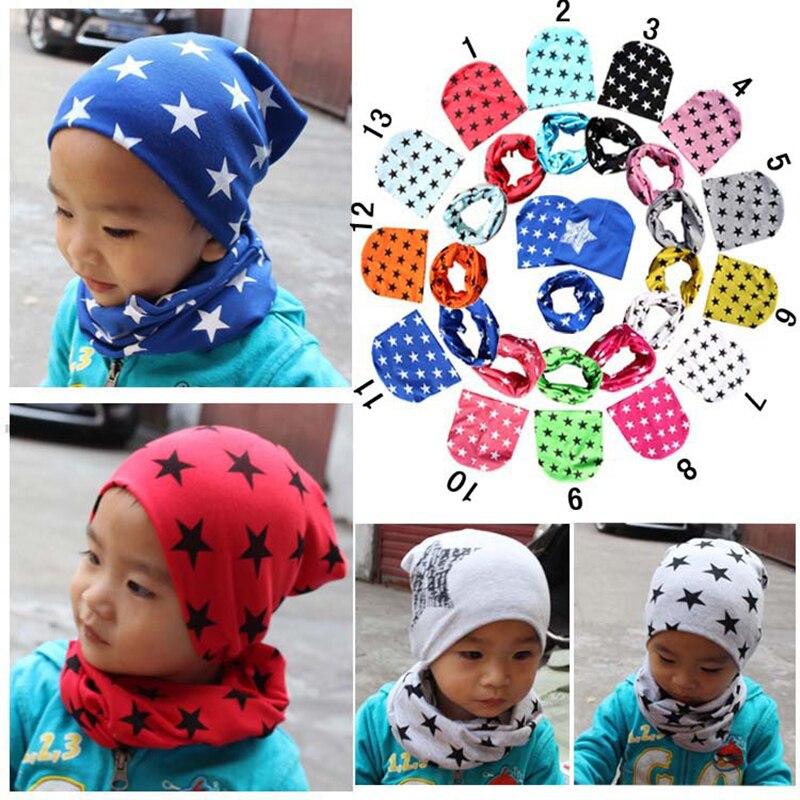 Children's Autumn Winter Hat Scarf Suit Star Heart Dot Print Cotton Beanie O-neck Neckerchief Two-Piece Set For Boys Girls Kids