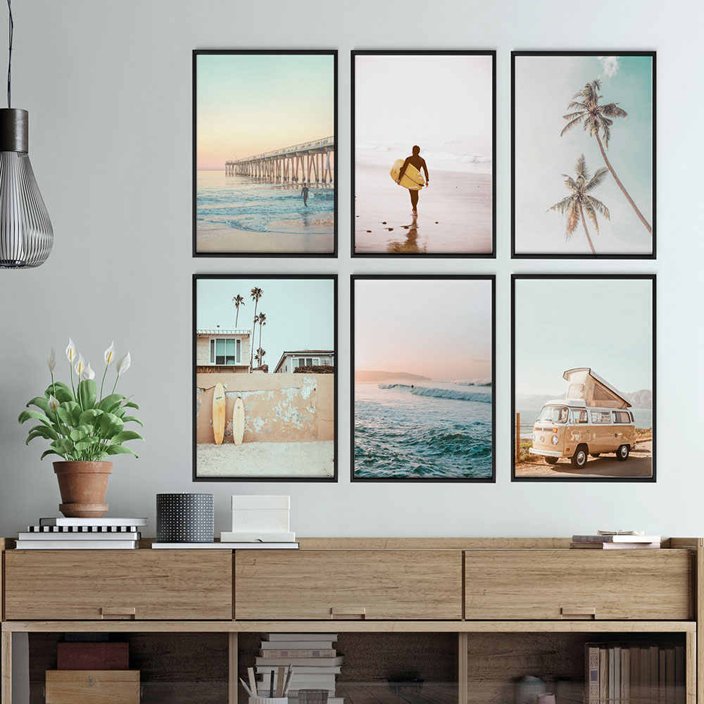 Scandinavian Ocean Viewscape Canvas Painting Nordic Style Beach Bus Wall Art Decoration Picture Home Decor Metal Frame