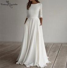 Элегантные Простые Свадебные платья 2020 А силуэта свадебное