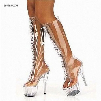 BBZAI New pattern High Quality sexy Nightclub Steel tube dance Women's Boots 15cm Crystal heel Waterproof 5CM 34-45 46
