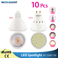 Lámpara Led GU10 MR16 E27 E14, foco de LED regulable, 6W, 3W, 8W, 220V, CA, 12V, Bombilla de foco LED, blanco frío y cálido, 10 Uds.