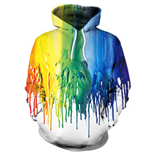 2019 Autumn and Winter New Hoodie Sweatshirt Watercolor 3d Digital Print Loose Large Size