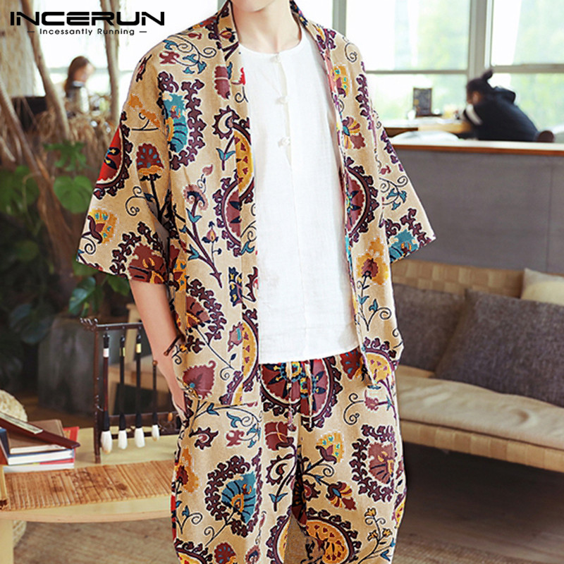 INCERUN Ethnic Style Printed Men Sets Casual Cotton Streetwear Half Sleeve Outerwear Tops Loose Pants Vintage Men 2 Pieces Sets