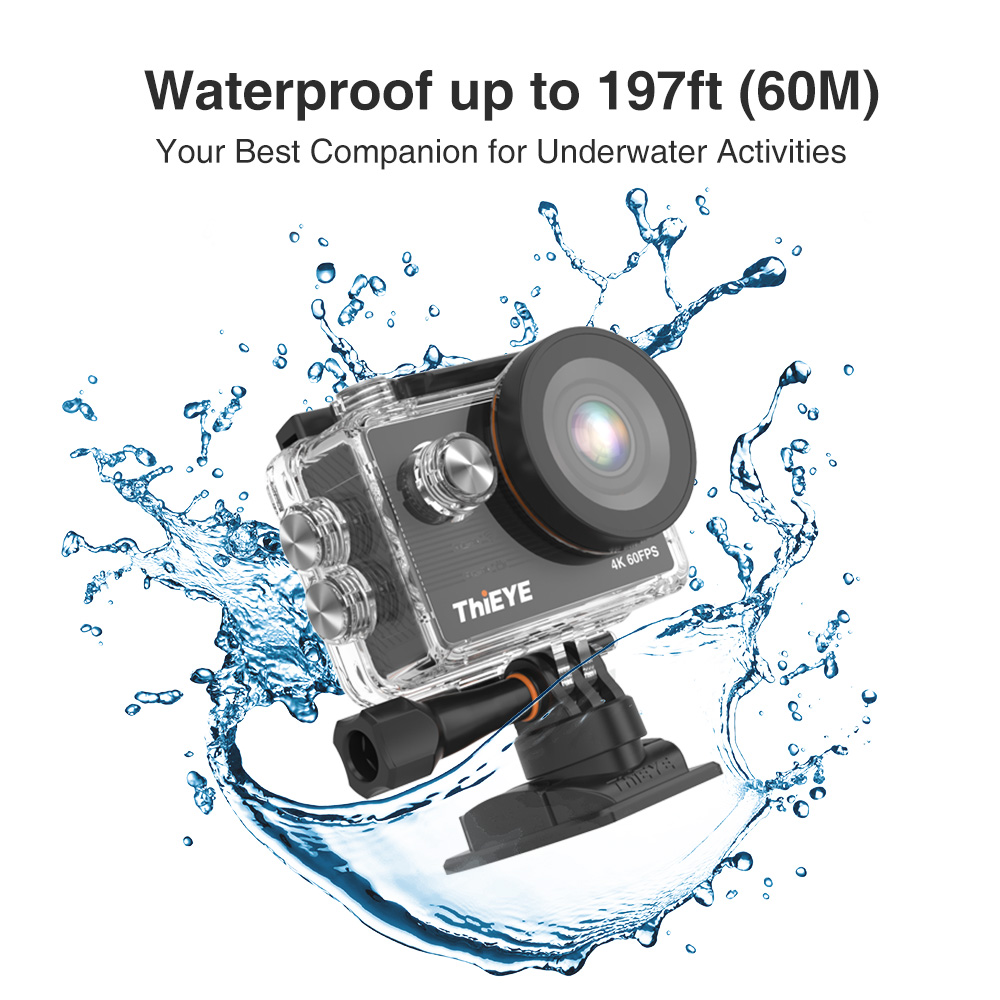 ThiEYE T5 Pro avec caméra d'action WiFi en direct caméra de Sport 4K Ultra HD réelle avec télécommande à distorsion EIS 60M étanche - 4