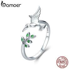 BAMOER autentico uccello in argento Sterling 925 e foglie di albero di primavera anelli di barretta di dimensioni aperte per gioielli da donna in argento Sterling SCR323