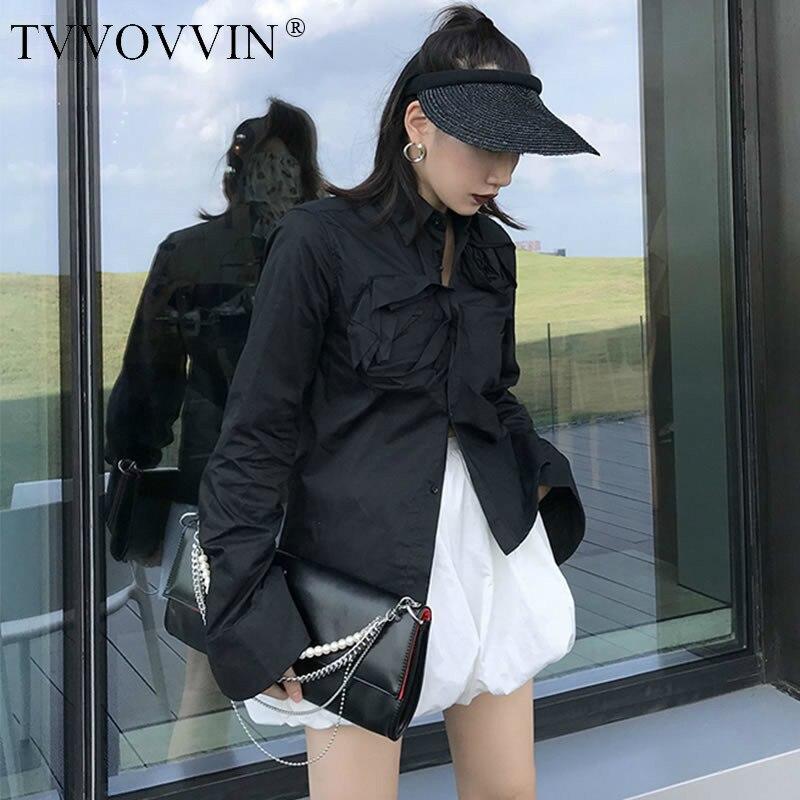 TVVOVVIN Patchwork Floral plissé noir chemise femmes vêtements irrégulière mode col rabattu irrégulière Blouse haut automne D228