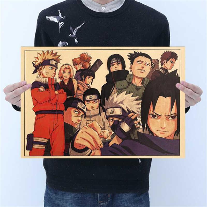 Klasik Naruto şekil Sasuke ağrı Neji boyama Anime Poster Vintage Decoracion duvar sanat Kraft kağıt posterler duvar çıkartmaları