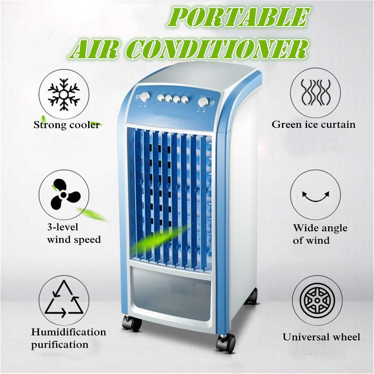 Air Conditioning Fan Air Cooler Unit 4L 80W & Remote Control Flow Swing Conditioning Fan Home Evaporative Air Cooler