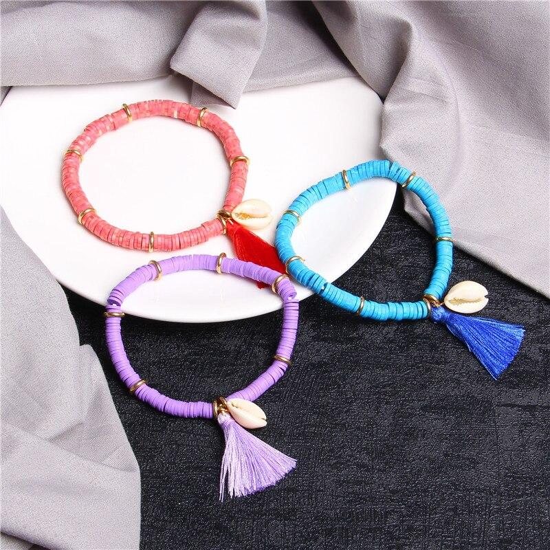 Colorful Tassel Shell Charm Bracelet For Women Charms Rubber Beaded Bracelet Femme Handmade Boho Bracelet Jewelry Gift