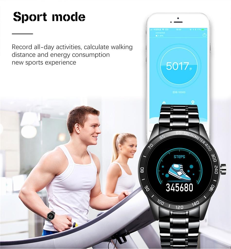 H7e1cd2380acc4be89fe57f9ea08d30f0n LIGE Steel Band Smart Watch Men Heart Rate Blood Pressure Monitor Sport Multifunction Mode Fitness Tracker Waterproof Smartwatch