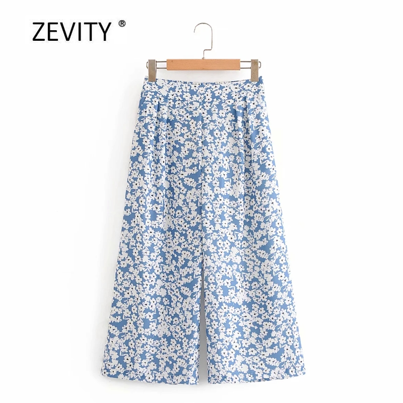 New 2020 women fashion flower print calf length wide leg pants female elastic waist casual pleats trousers pantalones mujer P875