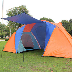 Double Layer Waterproof Big Camping Tent Two Bedroom Room Tent House for 5-8 Person Family Outdoor Party 420x220x175cm 5.3Kg(China)