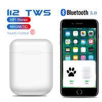 Oryginalny i12 TWS Pop-up słuchawki bezprzewodowe Bluetooth słuchawki 3D basowy zestaw słuchawkowy słuchawki douszne i12TWS PK i10 i12 i20 i30 i60 i100 i200 TWS LK-TE9