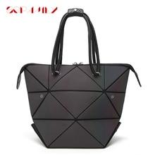 Fashion Diamond Women Bao Bags Folding Bag Female Plaid Laser Handbags Geometric Luminous Shoulder Messenger Bags For Women