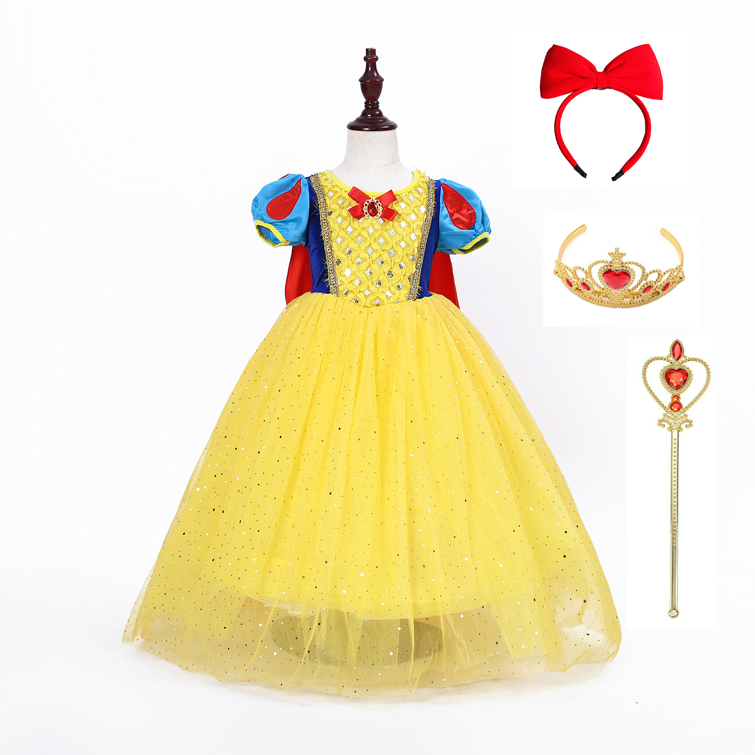 Girl Princess Snow White Dress Girls Baby Kid Dress Halloween Christmas Party Princess Cosplay Costume With Removable Long Cloak