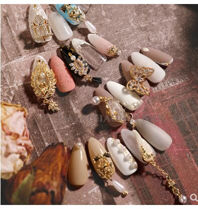 Net Red New Nail Jewelry Nail Stickers Retro Court Wind Cupid Pearl Chain Butterfly Wings