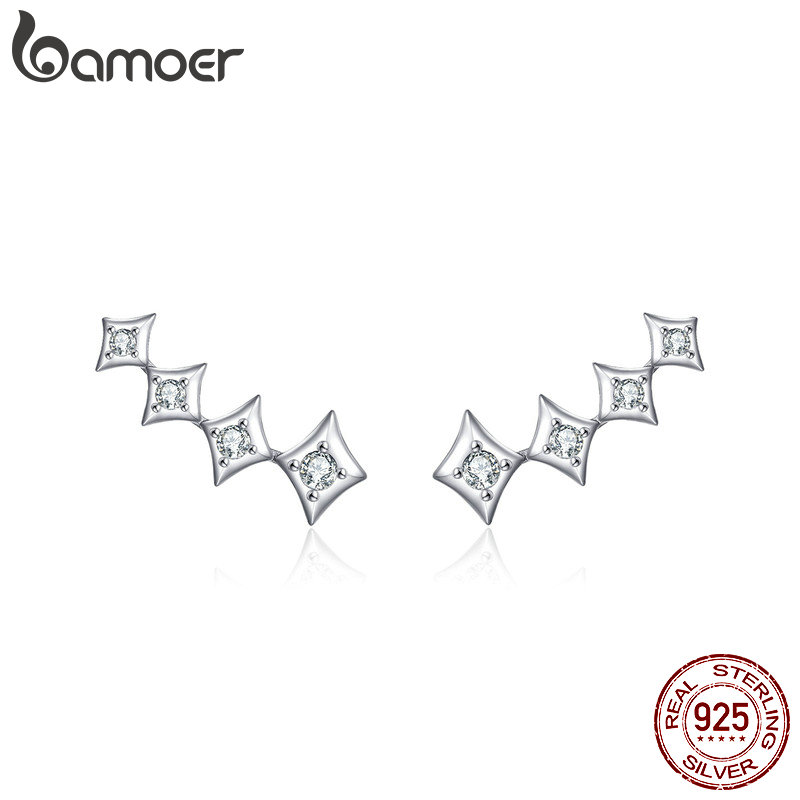 Bamoer Star Long Stud Earrings Sterling Silver 925 Women Wedding Statement Jewelry Sparkling CZ Ear Studs For Engeagment BSE146