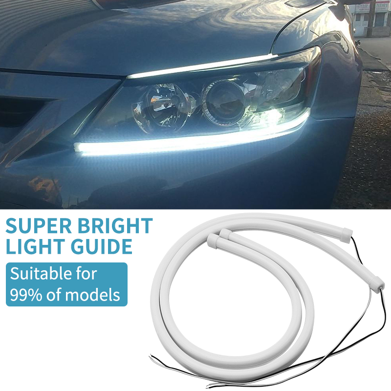 45cm/60cm White <font><b>LED</b></font> DRL Flexible Soft Daytime Running Light FOR Toyota CHR C-HR Corolla Camry <font><b>Nissan</b></font> Juke <font><b>X</b></font>-<font><b>Trail</b></font> <font><b>T32</b></font> image