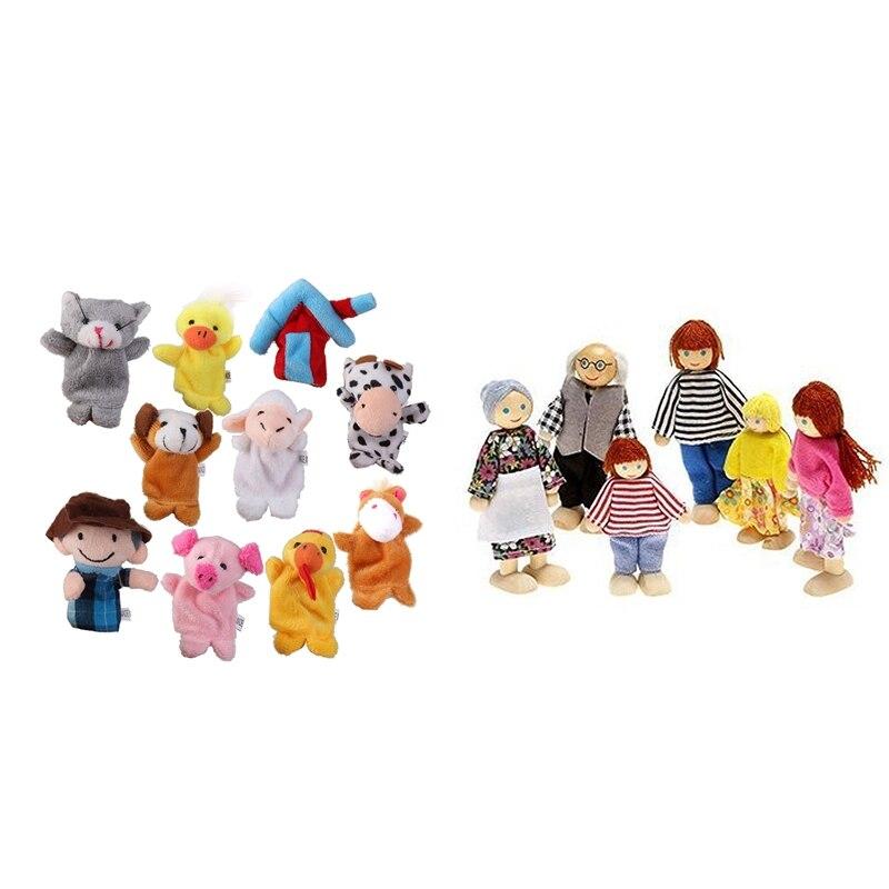 10 Pcs Old MacDonald Farm Animals Finger Dolls Children Prefer Toys & 1 Pcs Happy Doll Family Of 6 People
