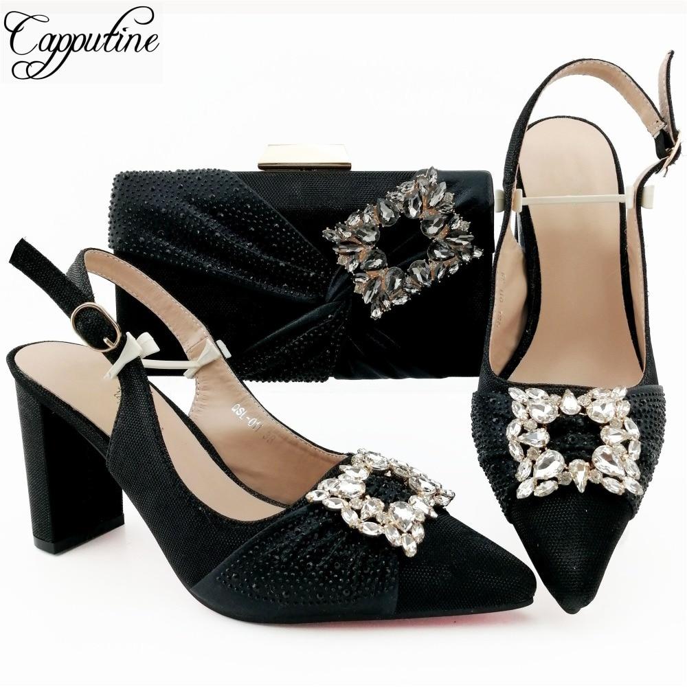 QSL011 BLACK 鞋与包的钻有色差