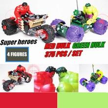 New Super Heroes Red Hulk Vs Geen Marvel Fit Avengers 76078 Figures Model Building Blocks Bricks Toys Gift Kid Boy Birthday