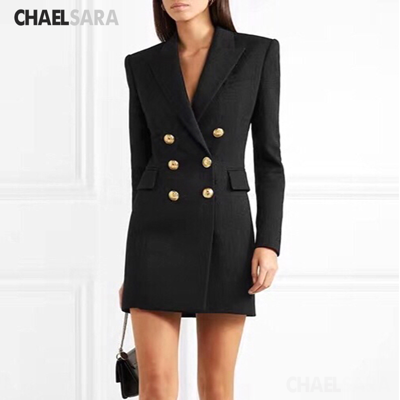High Quality Spring Long Blazer Women 2020 New Office Lady Elegant Solid Double Breasted Suit Female Three Quarter Slim Blazer