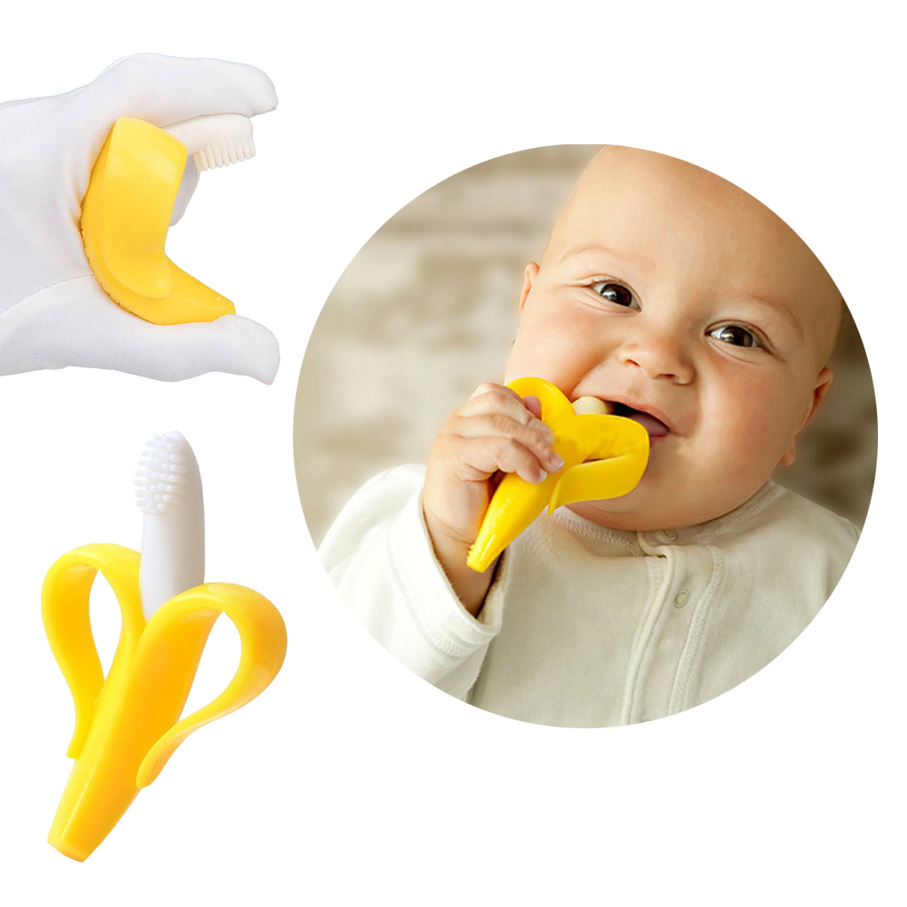 Baby Silicone Training Toothbrush BPA Free Apple Shape Safe Teether Chew Toys