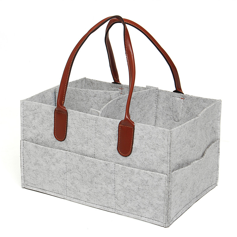 Baby Felt Cloth Storage Bag Foldable Large Size Diaper Caddy Changing Table Organiser Toy Storage Basket Car Organizer
