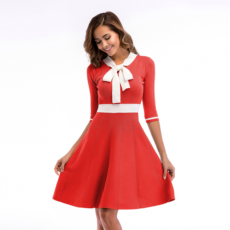 2019 Autumn and Winter Dress Ladies Red Knit Color Matching Bow Collar Sleeves Large Swing  Slim for Women