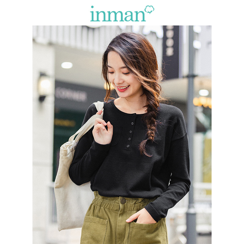 INMAN  Round Collar Off Shoulder Inside Knit Wear All Match Women Pullover Sweater
